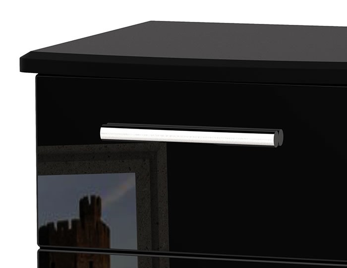 Knight 3 Drawer Black High Gloss Bedside Chest