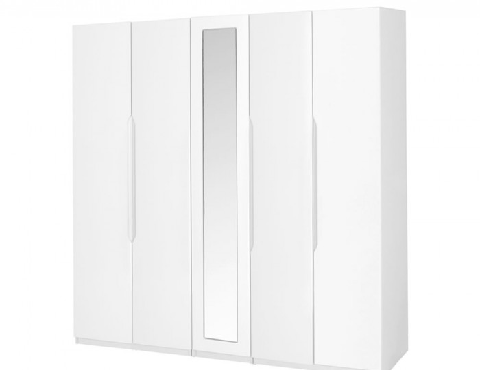 Trend 5 Door Tall White High Gloss Wardrobe