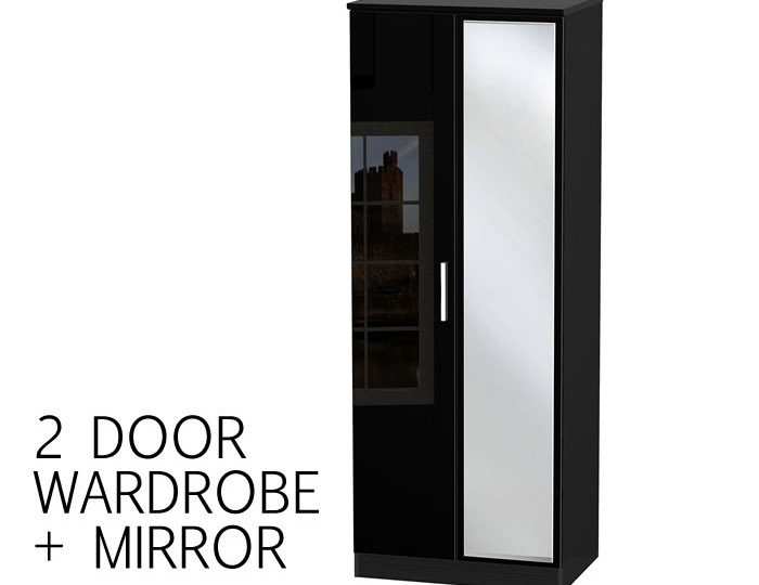Knight 2 Door Black High Gloss Wardrobes