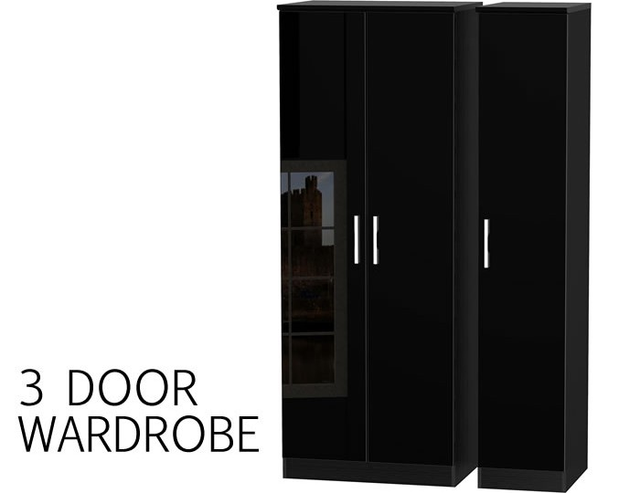 Knight 3 Door Black High Gloss Wardrobe