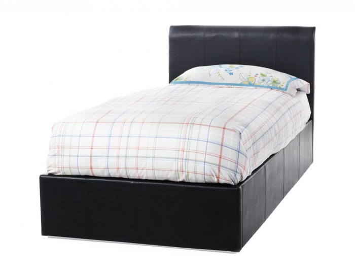 Malpasso Black Faux Leather Ottoman Bed