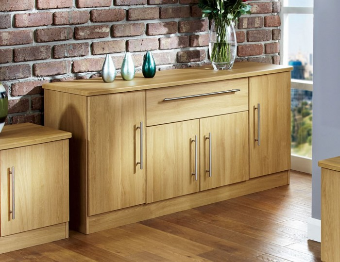Siero Oak 4 Door 1 Drawer Sideboard