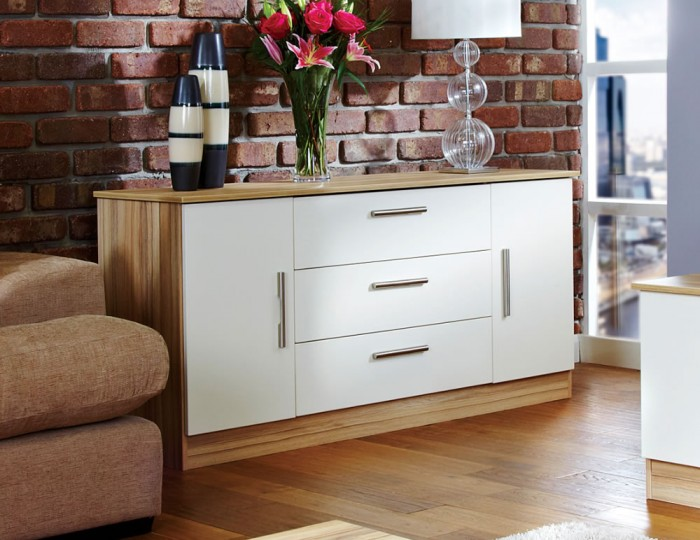 Pravia Vanilla 2 Door 3 Drawer Sideboards