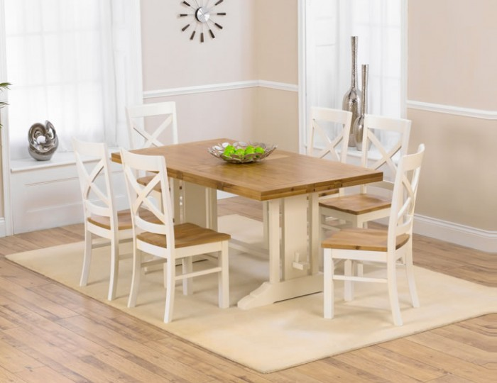 Bayside Cream And Oak Extending Dining Set