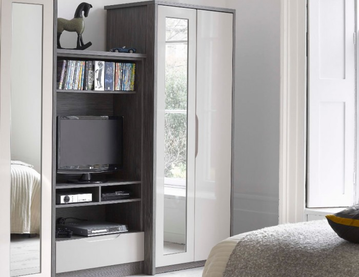 Affinity 2 Door High Gloss Wardrobe With Mirror