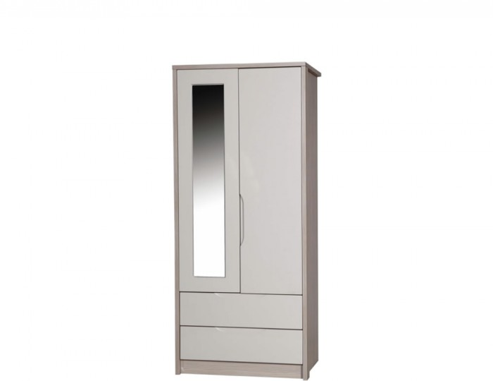 Affinity 2 Door 2 Drawer High Gloss Wardrobe With Mirror