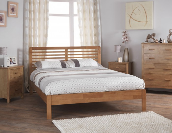 Esther Honey Oak Wooden Bed Frame