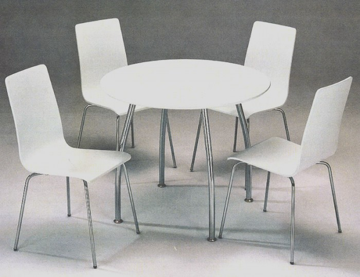 Dove round white breakfast table and chairs - Round kitchen table and chairs uk ...