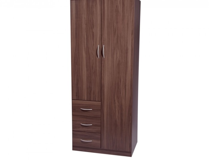 Tara 2 Door Combi Walnut Wardrobe