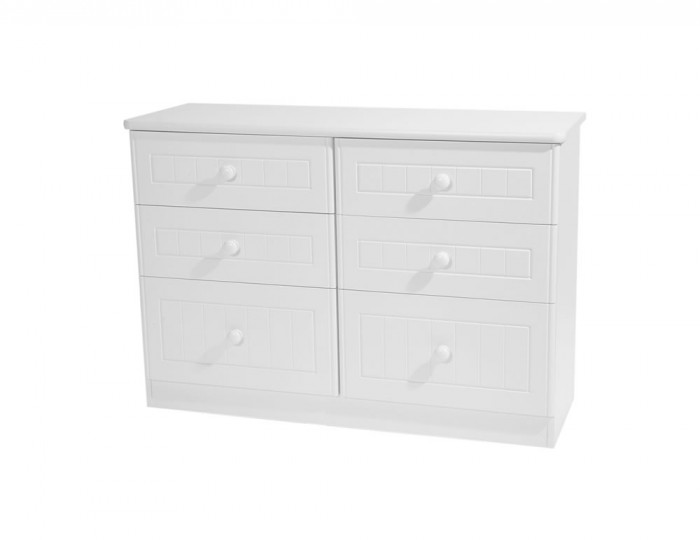 Warwick Childrens 6 Drawer Wide White Chest