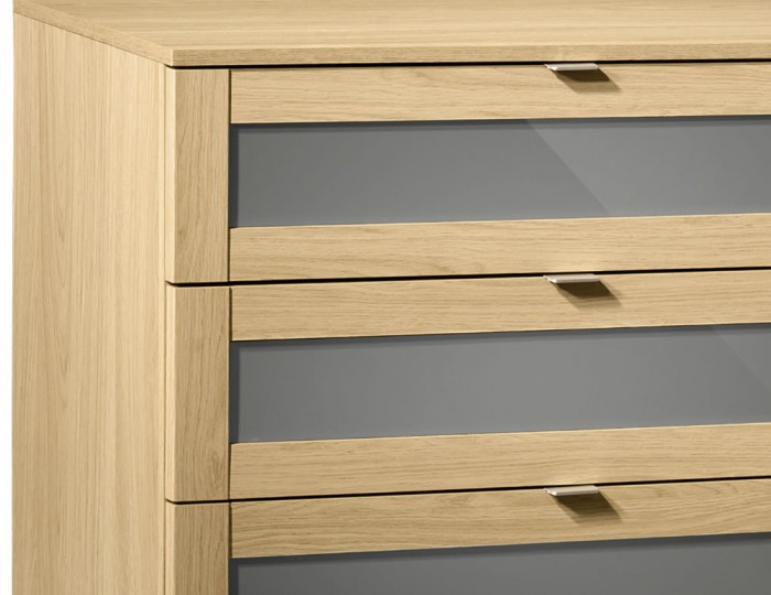 Allegro Oak and Grey Gloss 4 Drawer Chest