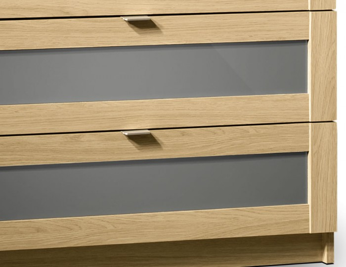 Allegro Oak and Grey Gloss 6 Drawer Chest
