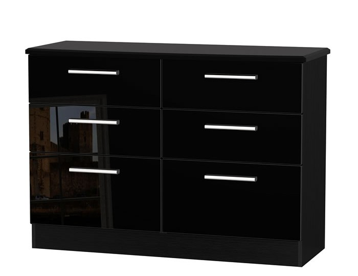 Knight black high gloss 6 drawer wide chest - Black chest of drawers for bedroom ...