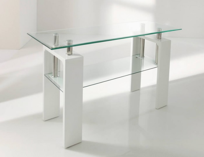 Window Console Table ~ Parma white glass console table