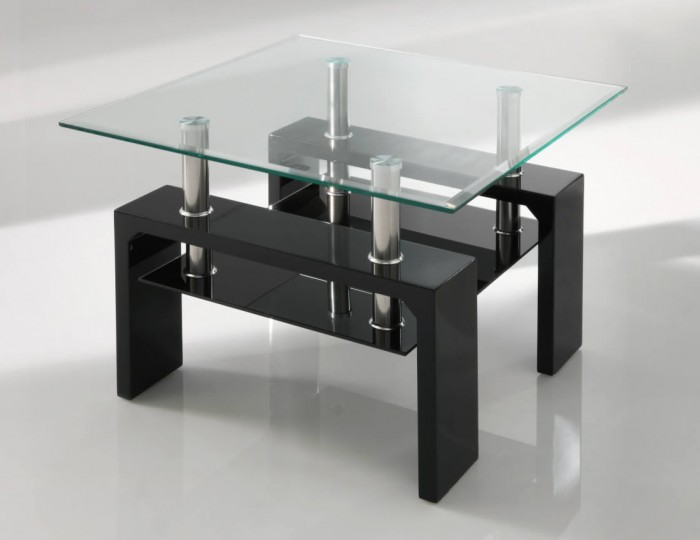 Parma Black Glass Lamp Table