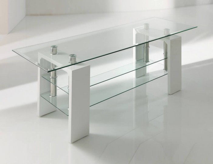 Parma White Glass TV Stand