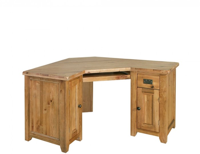 Moselle Rustic Oak Corner Computer Desk Uk Delivery