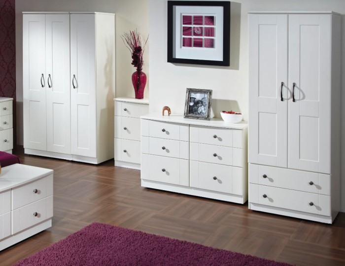 Amazon White 2 Door 2 Drawer Wooden Tall Wardrobe
