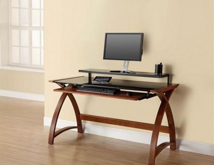 Penzance Walnut and Glass Computer Desk