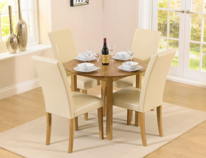 Hainton round drop leaf cream dining set uk delivery for Cream round dining table