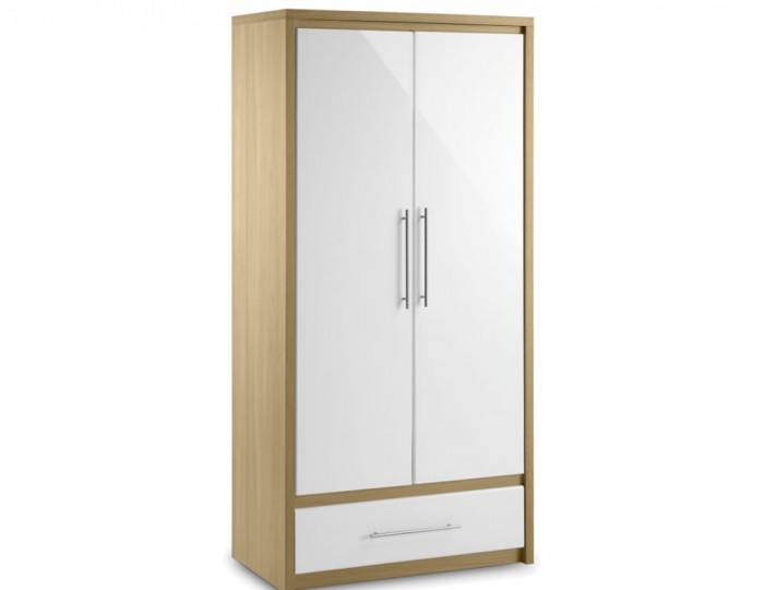 Helsinki 2 Door 1 Drawer High Gloss Wardrobe