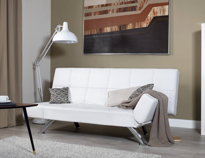 Venice Orchid White Faux Leather Clic Clac Sofa Bed