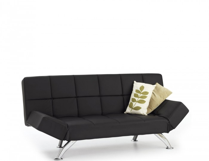 Venice black faux leather clic clac sofa bed frances hunt - Futon pour clic clac ...