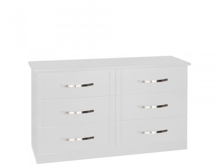 Dari White High Gloss 6 Drawer Wide Chest