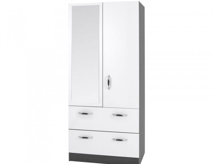 Tempo 2 Door High Gloss Wardrobe with Drawers and Mirror