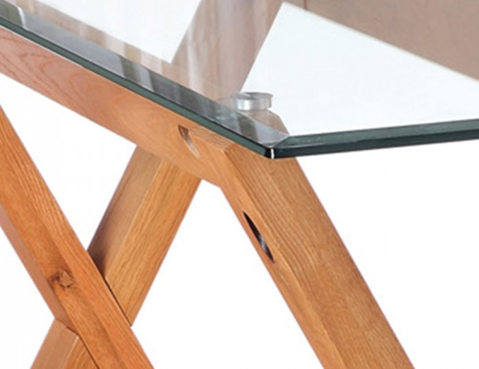 Mendoza Oak and Glass Console Table
