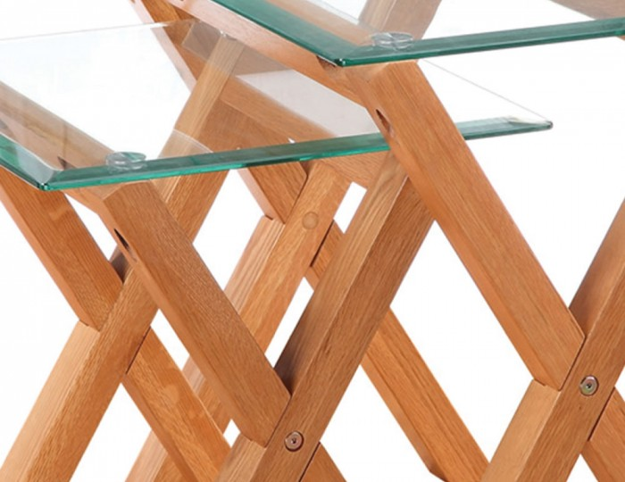 Mendoza Oak and Glass Nest of Table