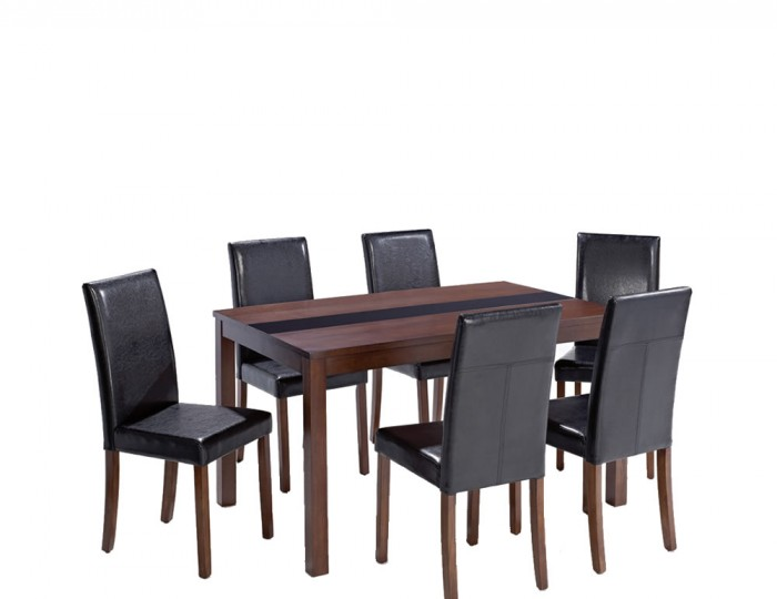 Brisbane walnut large dining table and chairs uk delivery for Table for 6 brisbane