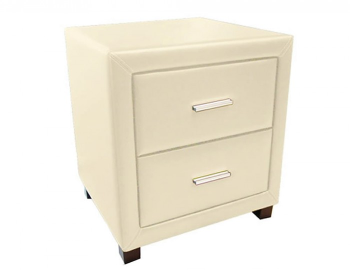 Archie Cream Faux Leather Bedside Chest