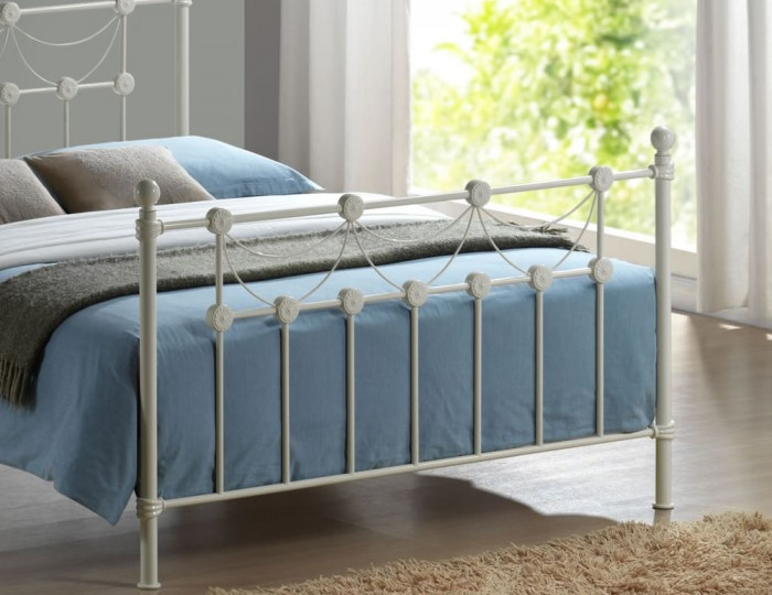 Annabelle Ivory Metal Bed Frame