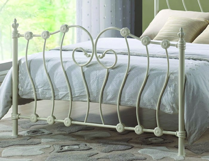 Brianna Ivory Metal Bed Frame