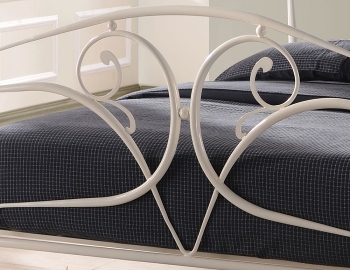 Aria Ivory Metal Bed Frame