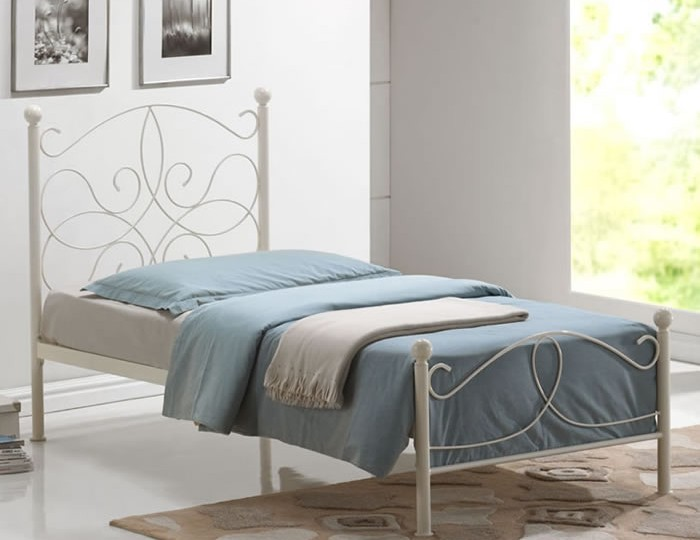 Alannah Ivory Metal Bed Frame 3ft 3 Day Express Uk Delivery