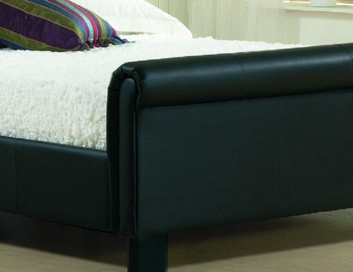 Carson Black Genuine Leather Bed