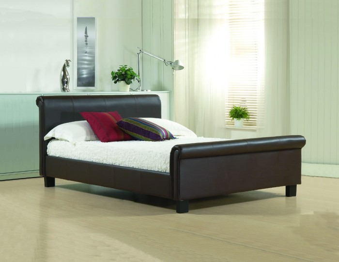 Carson Brown Genuine Leather Bed