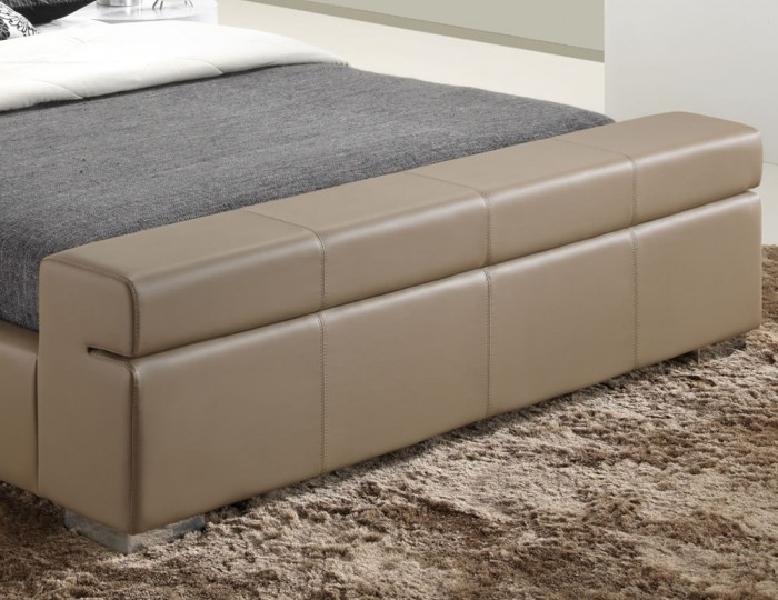 Cameron Stone Faux Leather Bed Frame