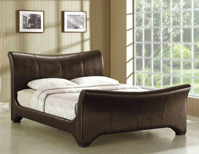 Roselle Brown Faux Leather Sleigh Bed