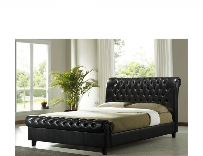 Sebastian Dark Brown Faux Leather Sleigh Bed