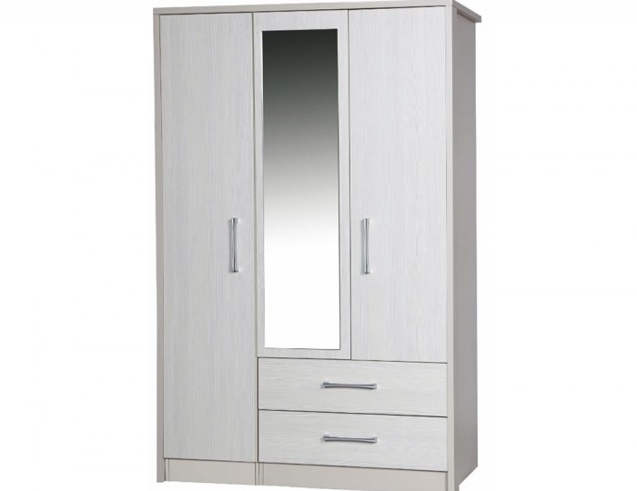 Hulsen 3 Door 2 Drawer Wardrobe with Mirror