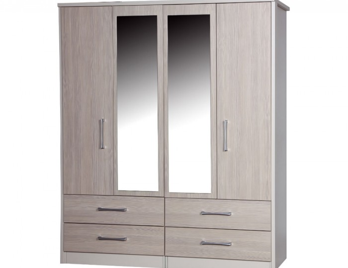 Hulsen 4 Door 4 Drawer Wardrobe with Mirror