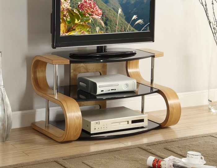 Scarlette S Shaped Oak And Glass Tv Stand