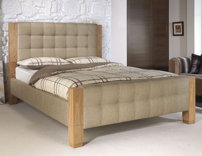 Zanda Oatmeal Upholstered Bed Frame
