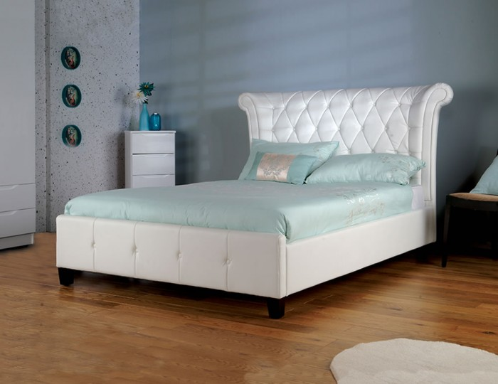 Nemiro White Faux Leather Bed Frame
