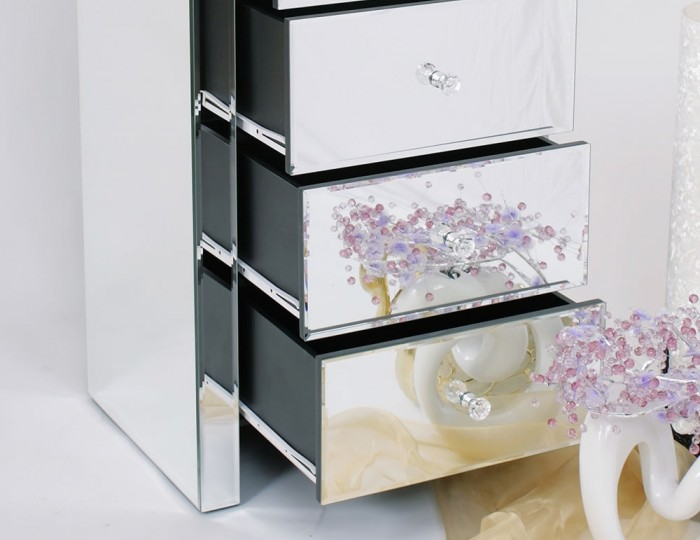 Amora Mirrored 5 Drawer Tall Chest