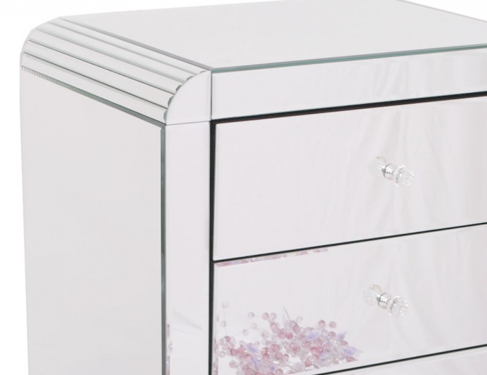 Berovo Mirrored 6 Drawer Tall Chest