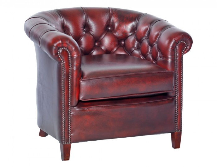 Furniture chairs tub chairs herschel antique red leather tub chair